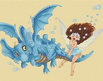 Cross Stitch Chart  Dragon Ride Fairy by Pascal Moguerou Fantasy Art