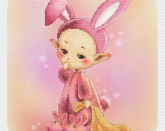 Sleepy Bunny Mitzi Sato-Wiuff - Cross stitch Chart Pattern