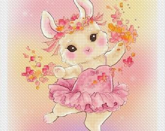 Ballerina Bunny Mitzi Sato-Wiuff - Cross stitch Chart Pattern