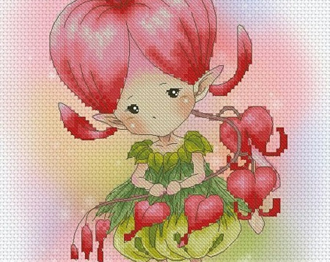 Bleeding Heart Sprite Mitzi Sato-Wiuff - Cross stitch Chart Pattern