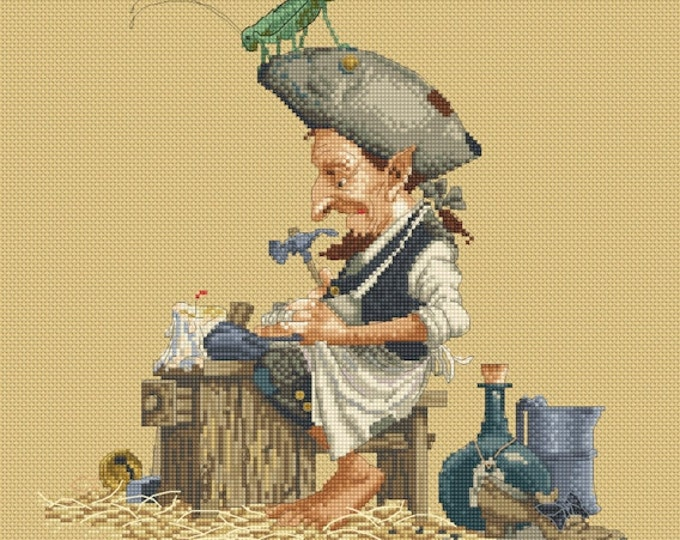 Cross Stitch Chart Cobbler Shoemaker  by Jean-Baptiste Monge
