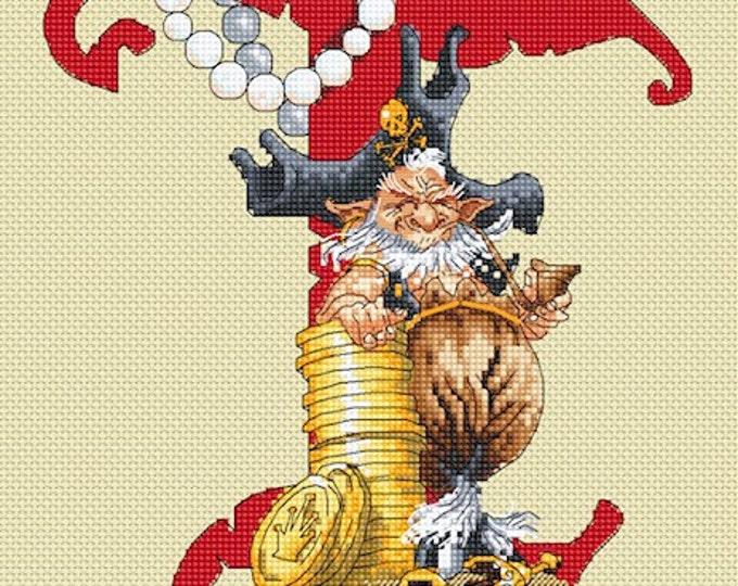 Cross Stitch Chart Illuminated Letter T - Pirate by Pascal Moguerou Fantasy Art