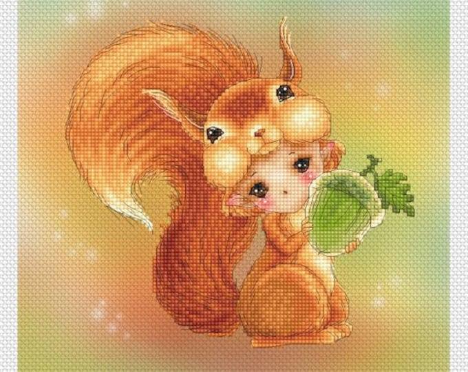 Squirrel Baby Mitzi Sato-Wiuff - Cross stitch Chart Pattern