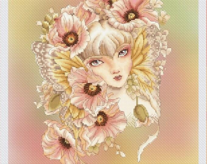 Pink Poppy Fairy by Mitzi Sato-Wiuff - Cross stitch Chart Pattern