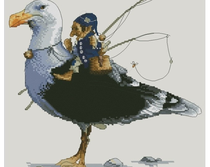 Cross Stitch Chart Gnome Fisherman Seagull  Fantasy Series by Lena Lawson Needlearts - Art of Jean-Baptiste Monge