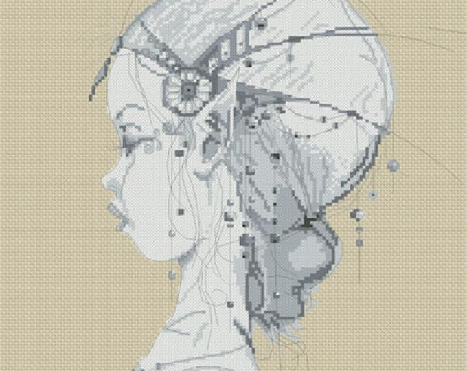 Cross Stitch Chart Elf Girls's Profile Monochrome - Art of Jean-Baptiste Monge