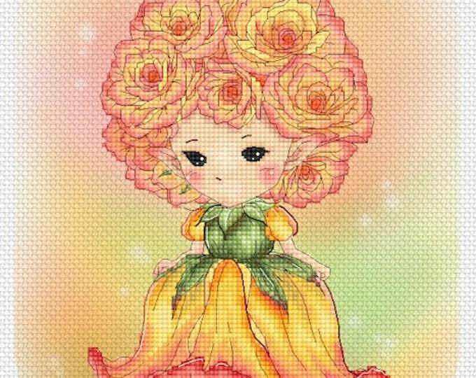 Peace Rose Sprite Mitzi Sato-Wiuff - Cross stitch Chart Pattern