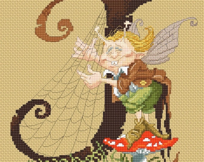 Cross Stitch Chart Harpist Letter J by Pascal Moguerou Fantasy Art