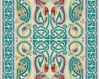 Needlepoint and Cross Stitch Celtic Peacocks Rug Tapestry Cari Buziak