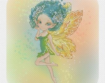 Lulu the Flower Pixie Mitzi Sato-Wiuff - Cross stitch Chart Pattern