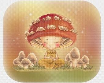 Meditating Mushroom Sprite Mitzi Sato-Wiuff - Cross stitch Chart Pattern