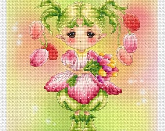 Spring Tulip Sprite Mitzi Sato-Wiuff - Cross stitch Chart Pattern
