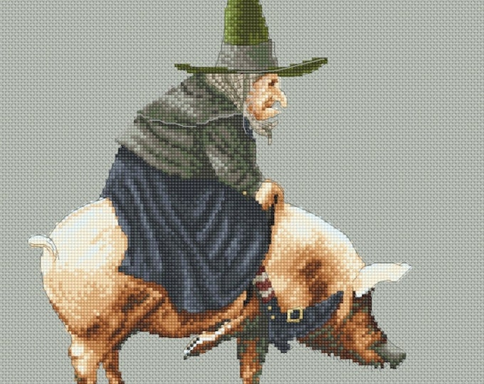 Cross Stitch Chart Witch on Pig  by Jean-Baptiste Monge