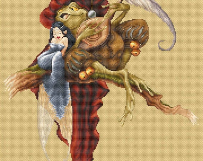 Cross Stitch Chart Serenade - Fairy and Toad - Pascal Moguerou Fantasy Art