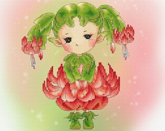 Christmas Cactus Sprite Mitzi Sato-Wiuff - Cross stitch Chart Pattern