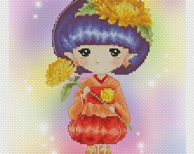 Chrysanthemum Sprite Mitzi Sato-Wiuff - Cross stitch Chart Pattern