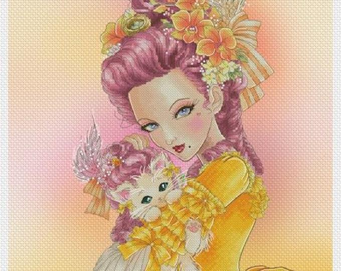Marie Antoinette w/Kitten Mitzi Sato-Wiuff - Cross stitch Chart Pattern