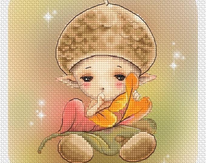 Acorn Baby Sprite Mitzi Sato-Wiuff - Cross stitch Chart Pattern