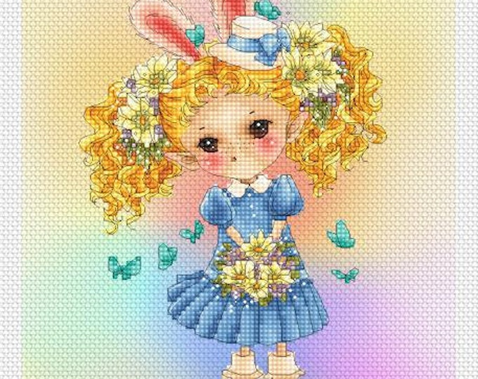 Easter Elf Sprite Mitzi Sato-Wiuff - Cross stitch Chart Pattern