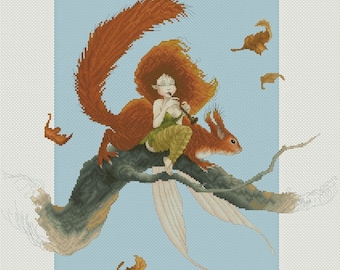 Cross Stitch Chart Squirrel Song - Fairy and Squirrel by Pascal Moguerou