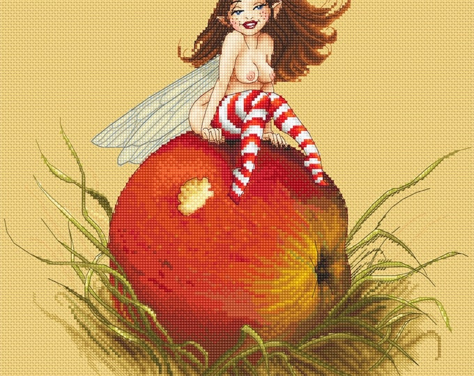 Cross Stitch Chart Apple Fairy by Pascal Moguerou Fantasy Art