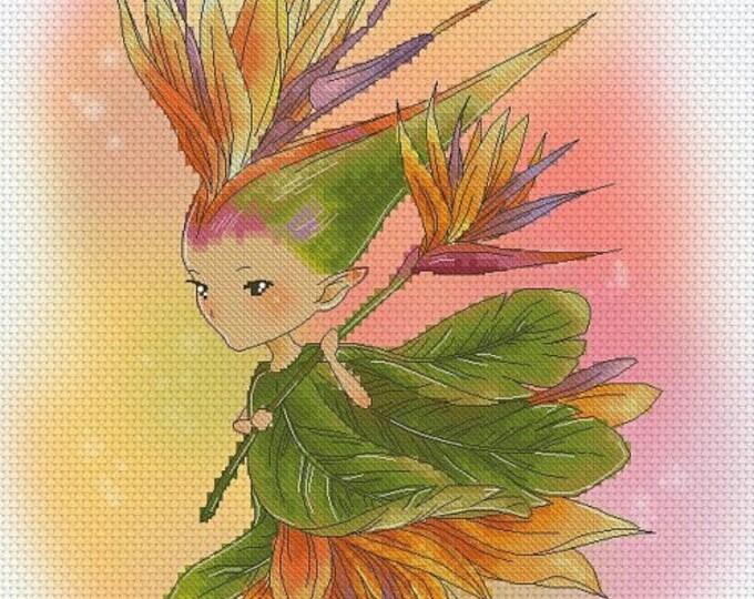 Bird of Paradise Sprite Mitzi Sato-Wiuff - Cross stitch Chart Pattern
