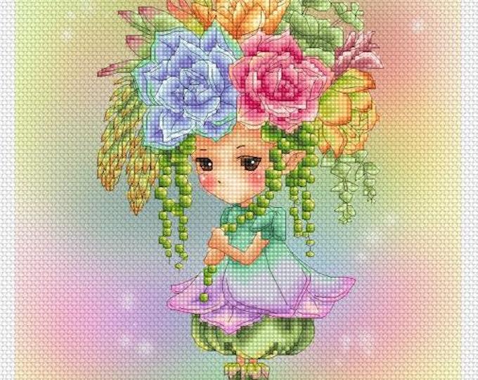 Succulents Sprite Mitzi Sato-Wiuff - Cross stitch Chart Pattern