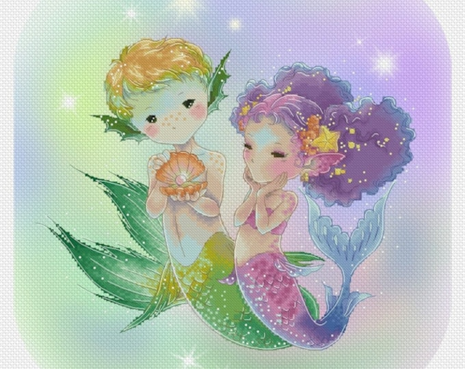 Mermaids - The Gift Mitzi Sato-Wiuff - Cross stitch Chart Pattern
