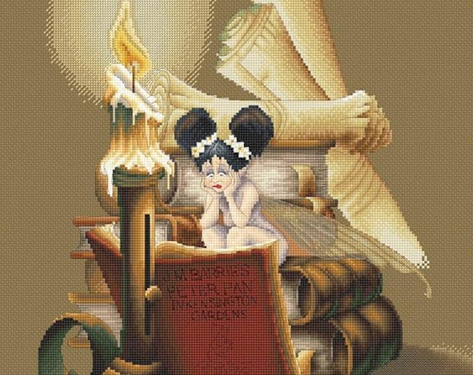 Cross Stitch Chart Bookworm Fairy by Pascal Moguerou Fantasy Art