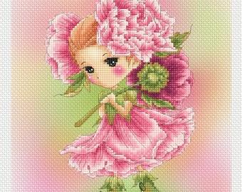 Peony Sprite Mitzi Sato-Wiuff - Cross stitch Chart Pattern