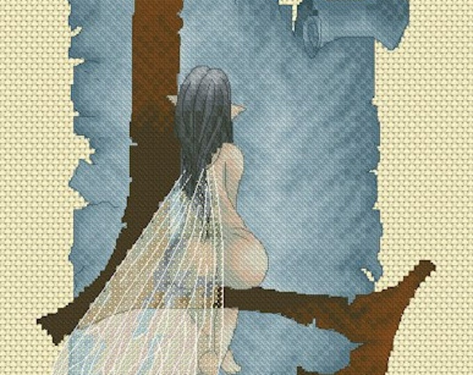 Cross Stitch Chart Illuminated Letter L - L is for Lounging by Pascal Moguerou Fantasy Art
