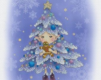 Christmas Tree Sprite Mitzi Sato-Wiuff - Cross stitch Chart Pattern