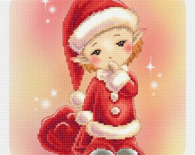 Little Santa Cross stitch Chart Pattern Mitzi Sato-Wiuff sprite Lena Lawson