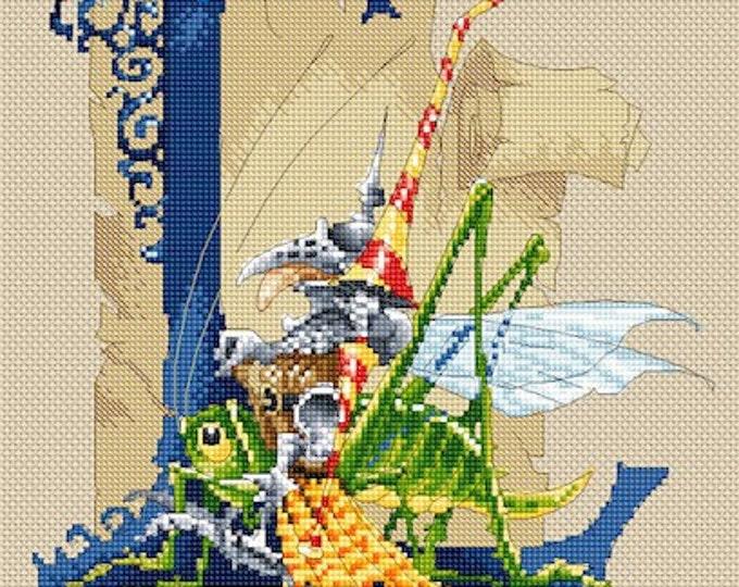Cross Stitch Chart Illuminated Letter L - Knight by Pascal Moguerou Fantasy Art