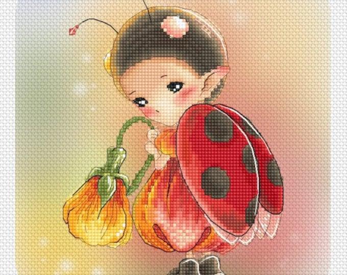 Cross stitch Chart Pattern Flower Sprites -  Ladybug Sprite