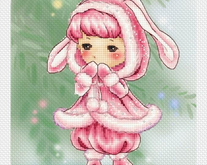 Bunny Pink Mitzi Sato-Wiuff - Cross stitch Chart Pattern