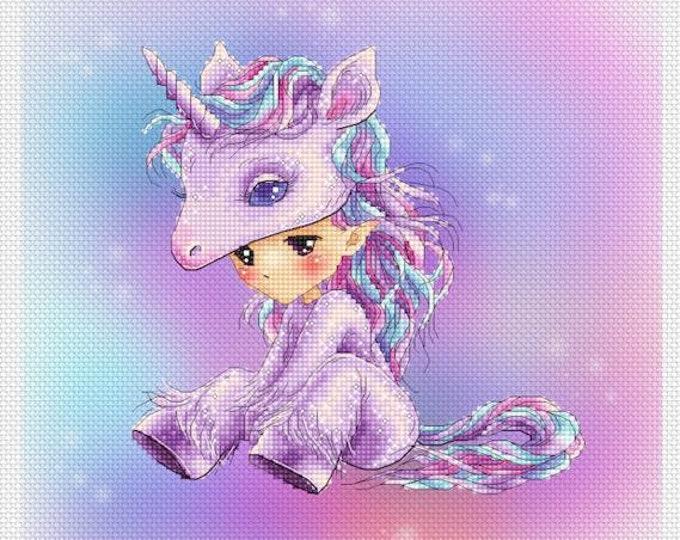 Unicorn Baby Sprite Mitzi Sato-Wiuff - Cross stitch Chart Pattern