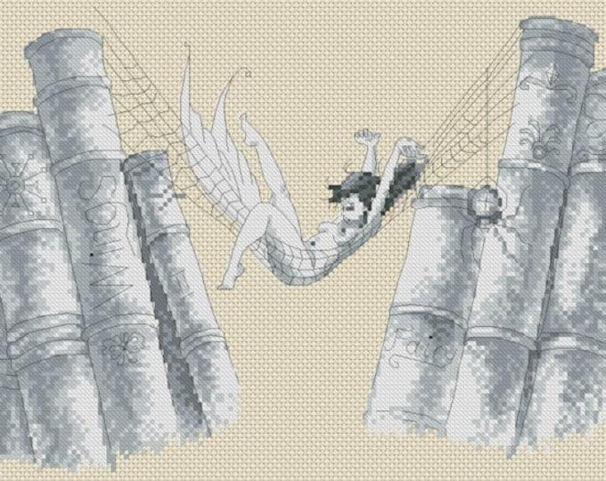 Cross Stitch Chart Pascal Moguerou Bookshelf Fantasy Art