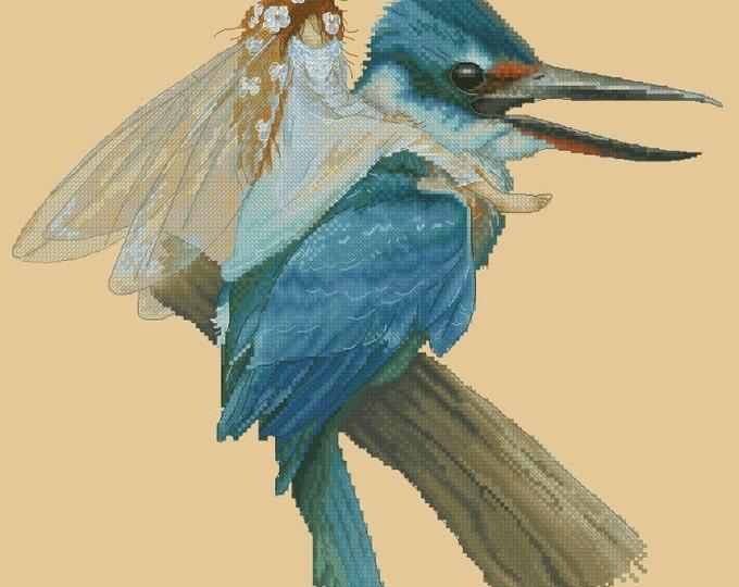 Cross Stitch Chart Pattern Fairy on Kingfisher Blue Bird by Jean-Baptiste Monge