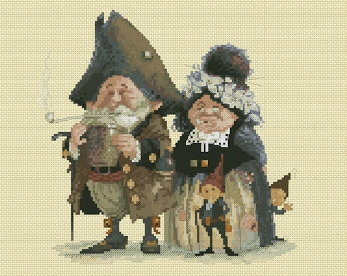 Cross Stitch Chart Goblins Couple - Art of Jean-Baptiste Monge