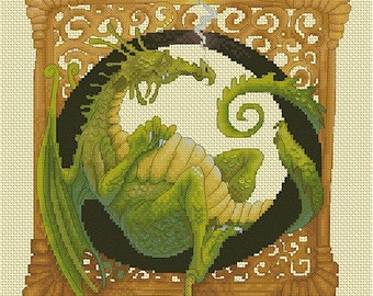 Cross Stitch Chart  Dragon - Illuminated Letter O by Pascal Moguerou Fantasy Art