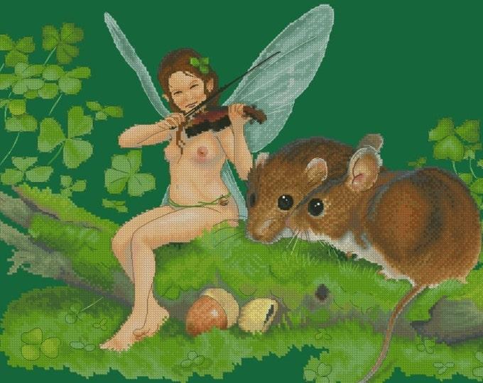 Cross Stitch Chart Fiddler Fairy and Mice by Jean-Baptiste Monge