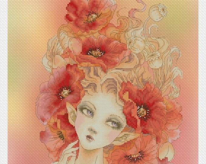 Red Poppy Fairy by Mitzi Sato-Wiuff - Cross stitch Chart Pattern