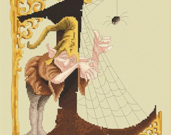 Cross Stitch Chart Cobweb Letter L by Pascal Moguerou Fantasy Art