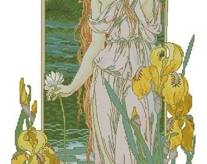 Cross Stitch Needlepoint Chart Pattern Canvas Art Nouveau Elizabeth Sonrel Fleurs des Eaux