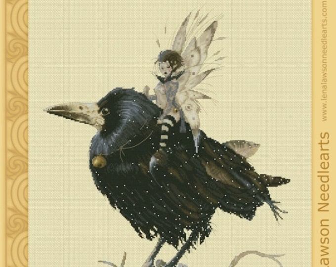 Cross Stitch Chart The Raven Queen Fantasy Lena Lawson Needlearts - Art of Jean-Baptiste Monge