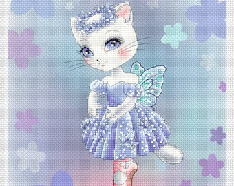 Sapphire Ballerina Kitty by Mitzi Sato-Wiuff - Cross stitch Chart Pattern
