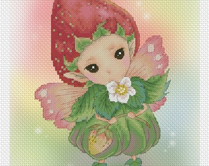 Strawberry Sprite Mitzi Sato-Wiuff - Cross stitch Chart Pattern