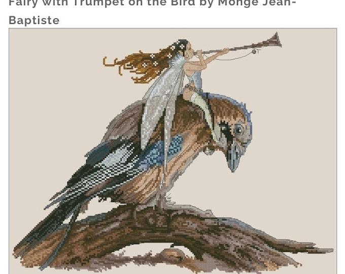 Cross Stitch Chart Spring Fairy Bird Fantasy Series by Lena Lawson Needlearts - Art of Jean-Baptiste Monge