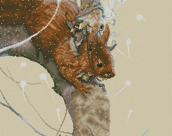 Cross Stitch Chart Gnome on Squirrel Fairies by Jean-Baptiste Monge